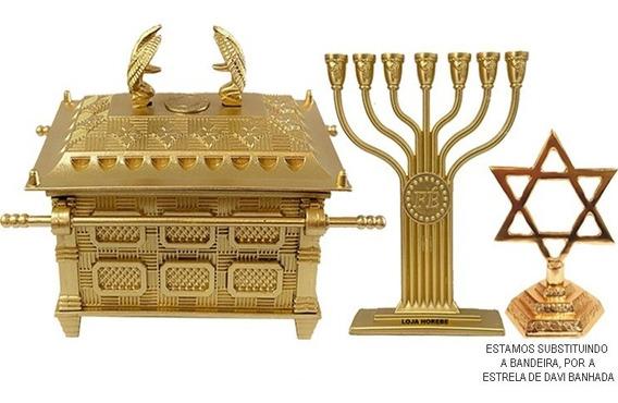 Arca Da Aliança Grande+ Menorá Fé+ Bandeira Israel