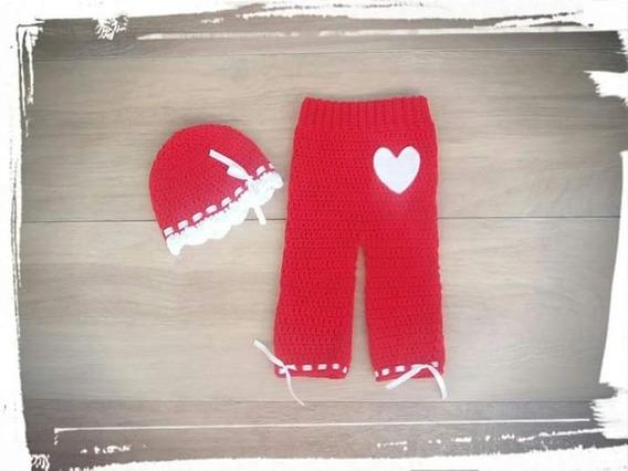 Pantalon Y Gorro Para Bebé Tejido A Crochet