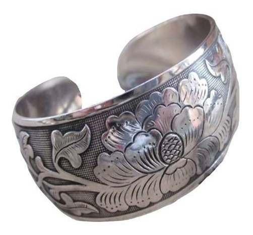 Bracelete Ajustável Tibetano Flores Esculpidas Artesanal