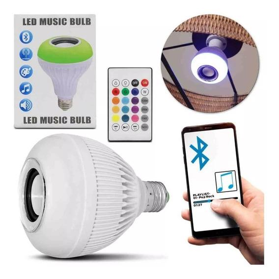 Lâmpada Bluetooth Led 12w Music Rgb Caixa De Som + Controle