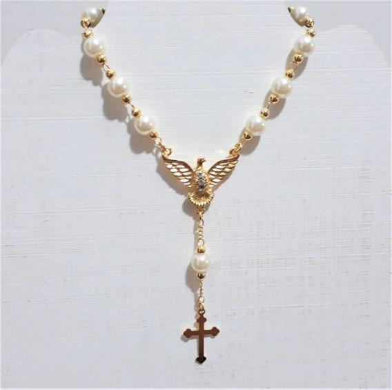 Pulseira Dourada Pérola Espírito Santo, Banhada A Ouro