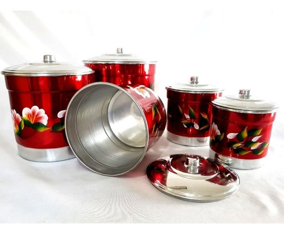 Mantimento Pote De Alumínio Conjunto Jogo Lata Florido 5 Pçs