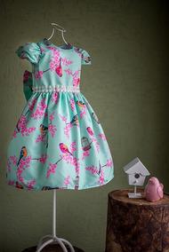 Vestido Infantil Festa Luxo Passarinhos