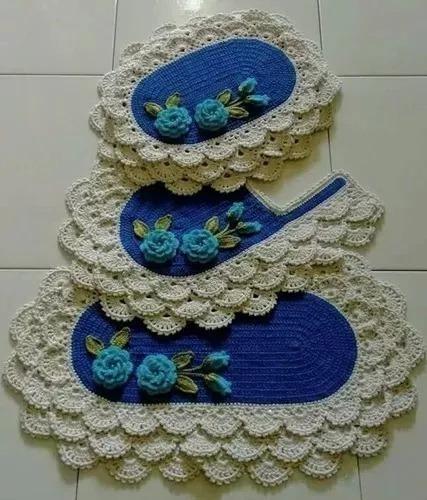 Kit Tapetes Para Banheiro Em Crochê Babados