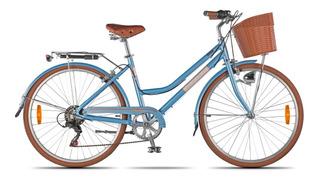 Bicicleta Dama Retro Vintage Cambios Diseño Canasto Aluminio