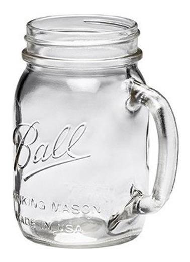 Frasco Con Asa Ball Mason Jar 16oz Boca Regular Tarro Vaso