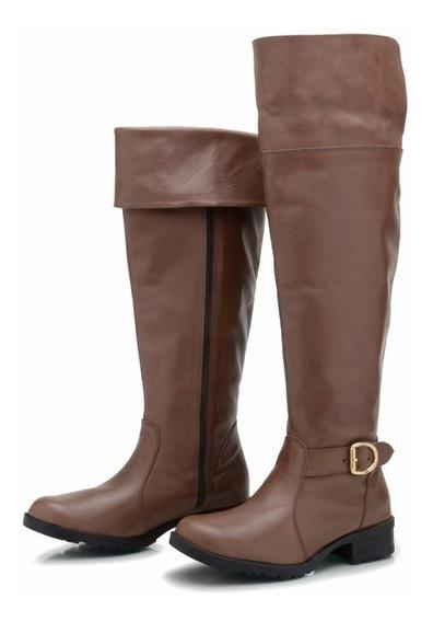 Bota Over The Knee Atron Shoes Bota Feminina Couro Legítimo