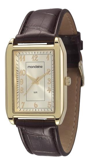 Relógio Mondaine Masculino Couro Dourado 83285gpmvdh2