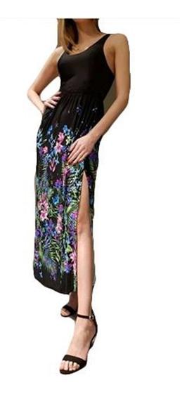 Vestido Largo Solera Seda Fría Mujer Tajos A Los Costados
