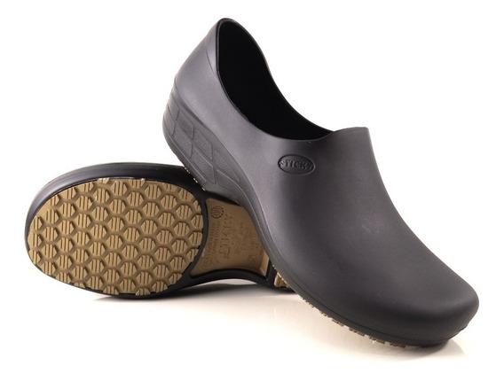 Calçado Para Cozinha Antiderrapante Stick Shoes Woman Preto