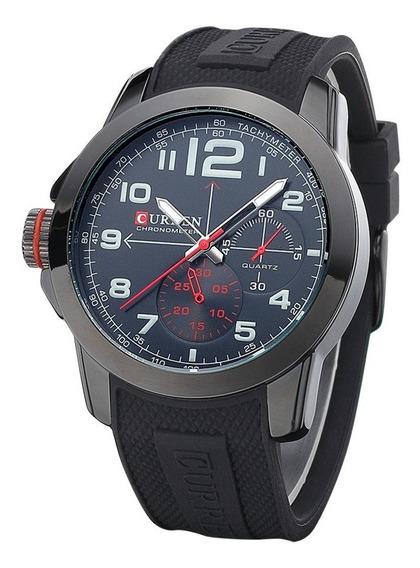 Relógio Curren Original 8182 Militar Preto Masculino