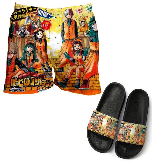 Kit Short De Paia Tactel + Chinelo Anime Capa Boku No Hero