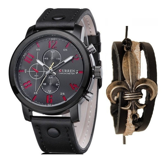 Relógio Masculino Curren Social Luxo + Pulseira Ajustável