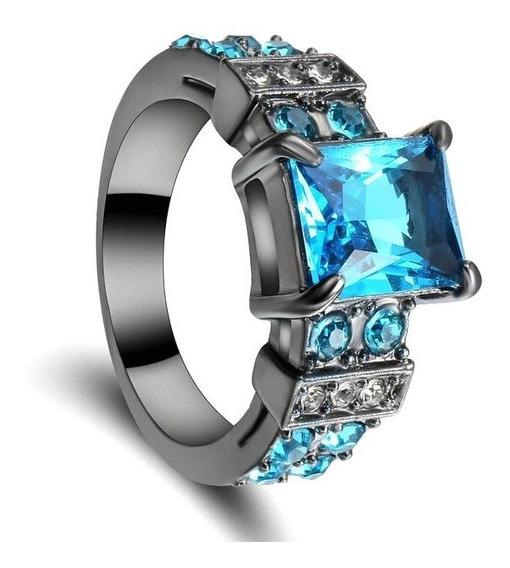 Anel Masculino Pedra Cristal Água Marinha Azul Titânio 193