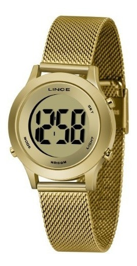 Relógio Lince Digital Dourado Redondo Sdph109l Cxkx