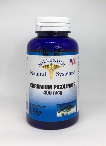 Picolinato De Cromo Chromium 400mcg X 100 Capsulas Americano