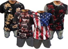 2c0574fc6 Kit 4 Camisa Masculina Long Line Oversize Estampadas Floral