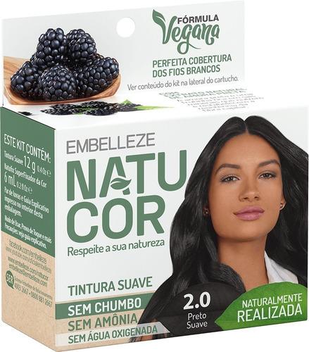 Tinta De Cabelo Natucor Naturalmente Realizada Amora-preta Preto Suave 2.0 Kit Economico