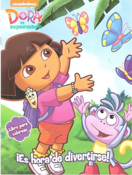 Dora La Exploradora 10 Libros Iluminar Bolo Fiestas Colorear