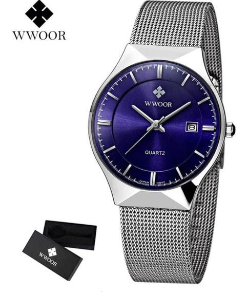 Reloj Wwoor Original Con Estuche Caballero Acero Inoxidable