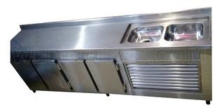 Balcão Refrigerado Industrial Em Aço Inox, 2,50x0,60x0,90