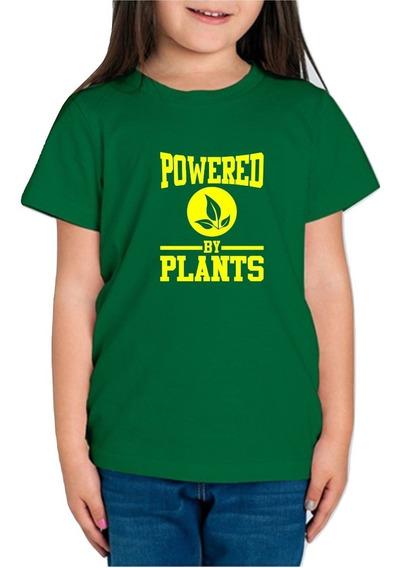 Playera Vegano Vegetariano Powered By Plants Niña 1 Pza C/e