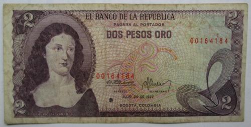 2 Pesos Oro Colombia - Reposición Asterisco Escaso ( P 79