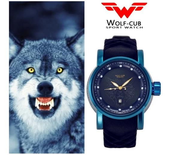 Relogio Wolf Cub Azul,analogico,aco Inox,c/caixa,top,barato.