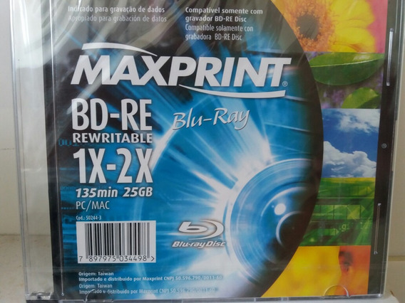 Midia Maxprint Blu Ray Rw 25gb Regravável