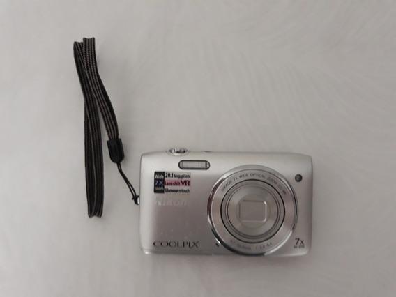 Câmera Digital Nikon Coolpix S3500 20.1mp Zoom 7x Prata