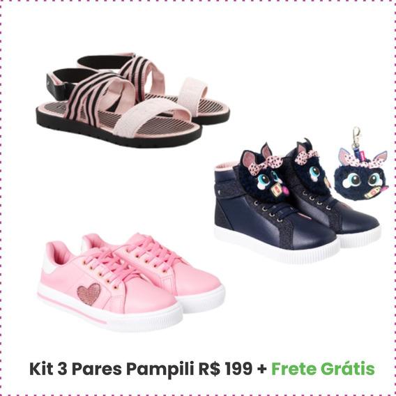 Kit 3 Pares Sapato Sapatilha Infantil Menina Pampili Oferta