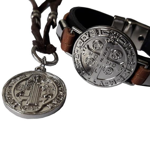 Pulseira De Couro E Cordão Em Camurça Medalha De São Bento