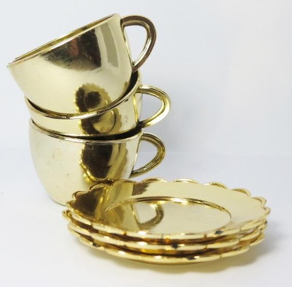 50 Mini Xícaras Douradas Pires Bela Fera Decoração Festa
