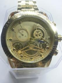 Relógio Masculino Todo Dourado Pulseira Fundo Trabalhado