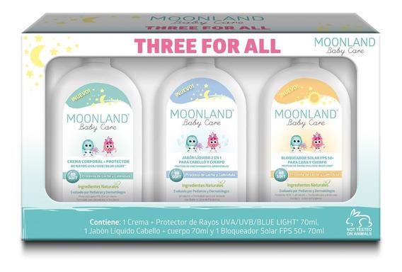 Kit Moonland Bebés Crema, Prot Solar, Dermolimpiador Micelar