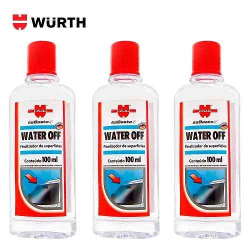 Kit 7 Water Off Wurth Cristalizador De Para Brisa E Vidros