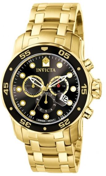 Relógio Invicta Original Pro Diver Cronógrafo Tom De Ouro