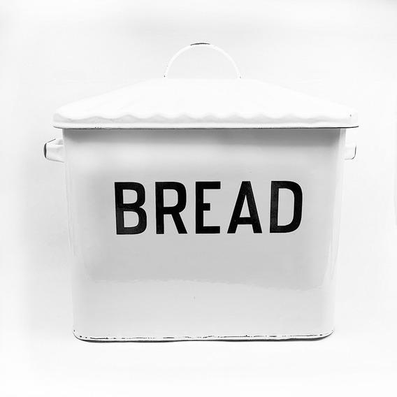 Panera Enlozada Blanca Con Tapa Vintage Bread