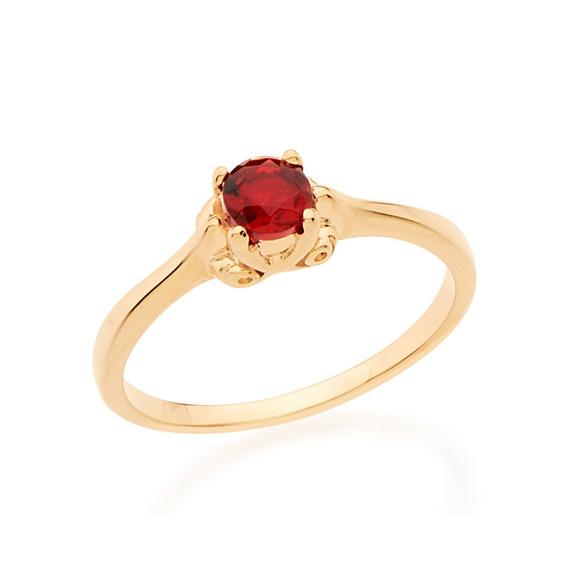 Anel Skinny Ring Solitário Com Cristal Vermelho Redondo Romm