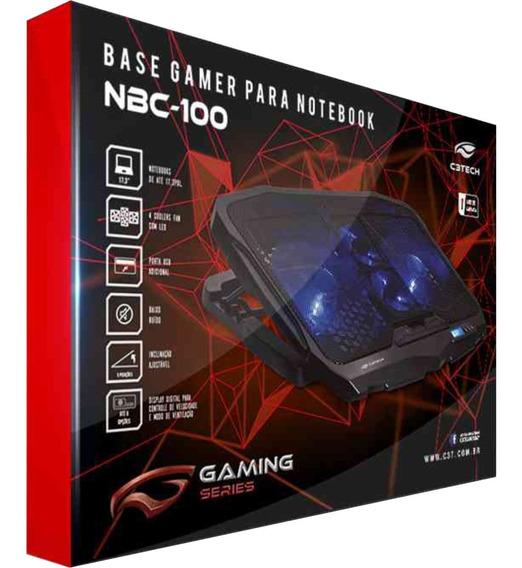 Nbc-100bk Base Suporte Gamer 4 Coolers Led Azul Notebook 13 14 15 17 Articulado 3 Inclinações Mesa Hp Acer Dell Samsung