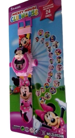 Relógio Minnie Brinquedo Infantil Projetor Imagem Rosa
