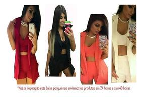 Conjunto 3 Peças:cropped,shorts Cintura Alta E Colete Blazer
