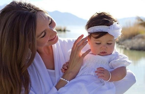 Pulseira Infantil Perola Baby Natural E Ouro 18k 750