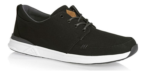 Zapatillas Reef Rover Low Black White Negro Lona
