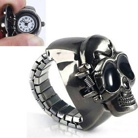 Anel Relógio Ajustavel Ou Pulseira Skull