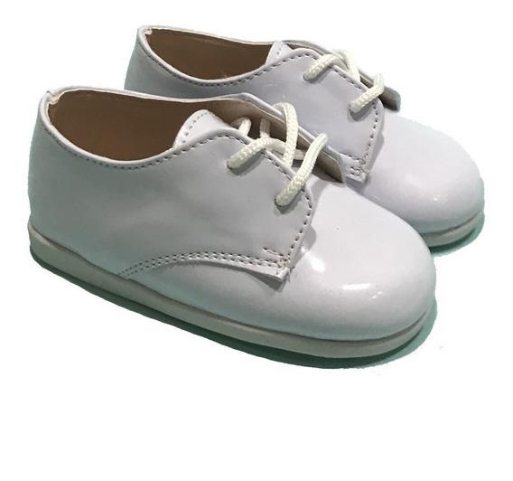 Zapato Acordonado Blanco Charol Bautismo Calfas! A.bauti