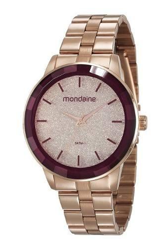 Relógios Femininos Mondaine Rosé Com Glitter 53710lpmvre3 - Garantia De 1 Ano E Nota Fiscal