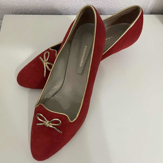 Zapatos Rojos De Cuero Gamuzado Con Moño