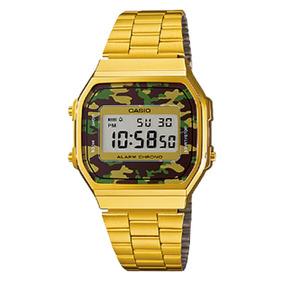 Relógio Vintage Digitala168wegc-3dfprata Camuflado -casio