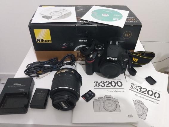 Nikon D3200 Lente 18-55 Vr Kit+maleta+cartão De Memória 32gb